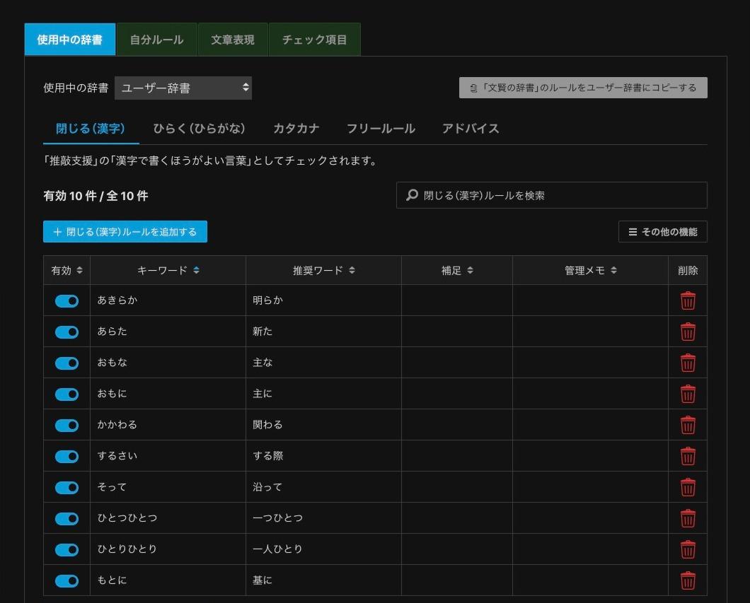 文賢:漢字ルールの設定