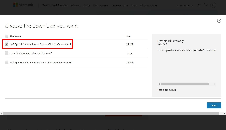 Tomarigiのインストール:Microsoft Speech Platform Runtime1