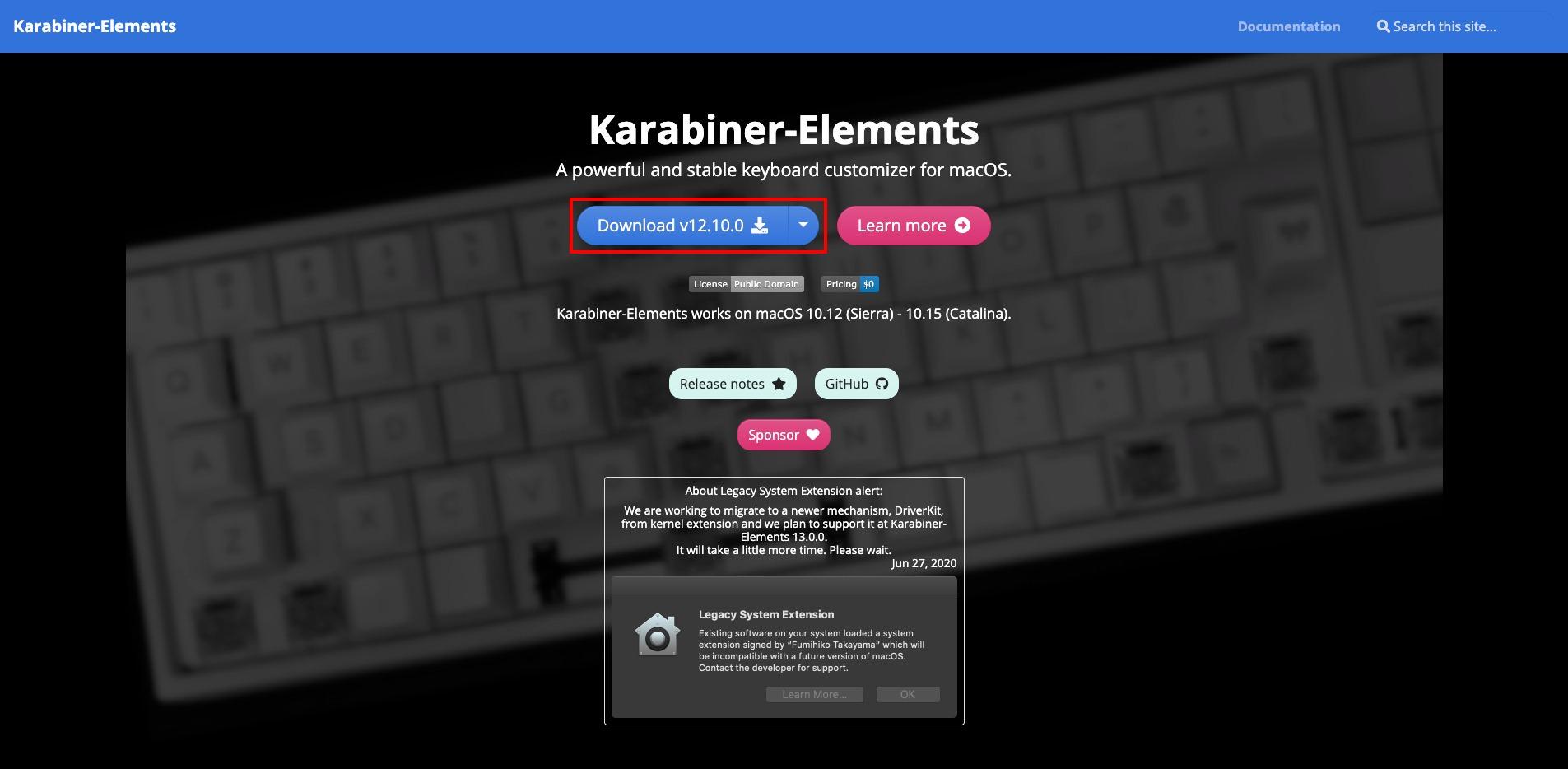 Karabiner-Elementsのインストール