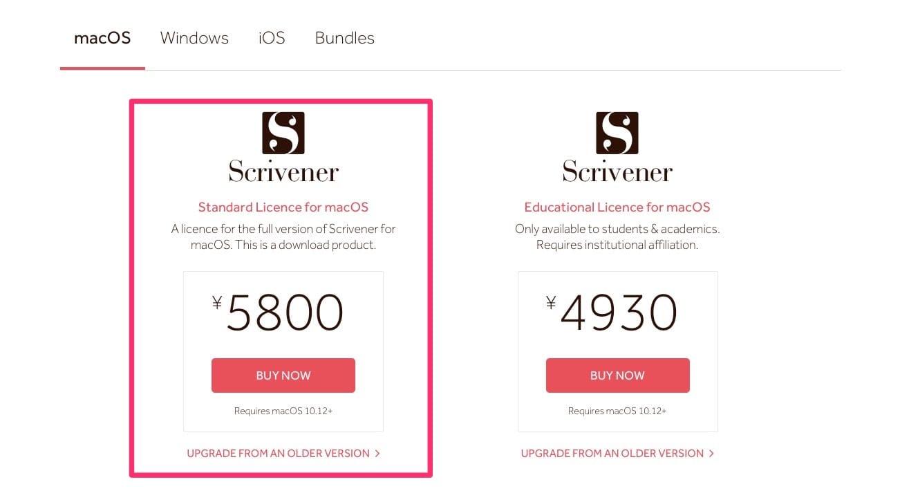 Scrivener購入ページ