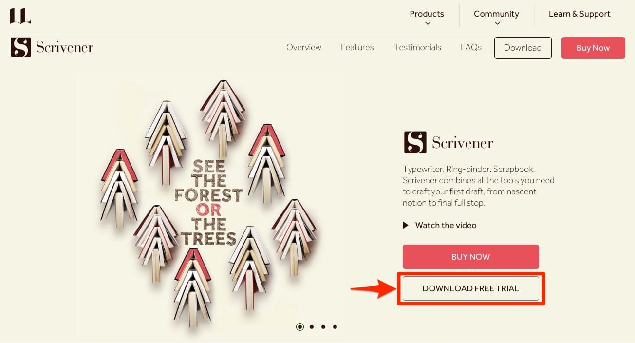 Scrivnerのサイトにアクセスして「DOWNLOAD FREE TRIAL」をクリック