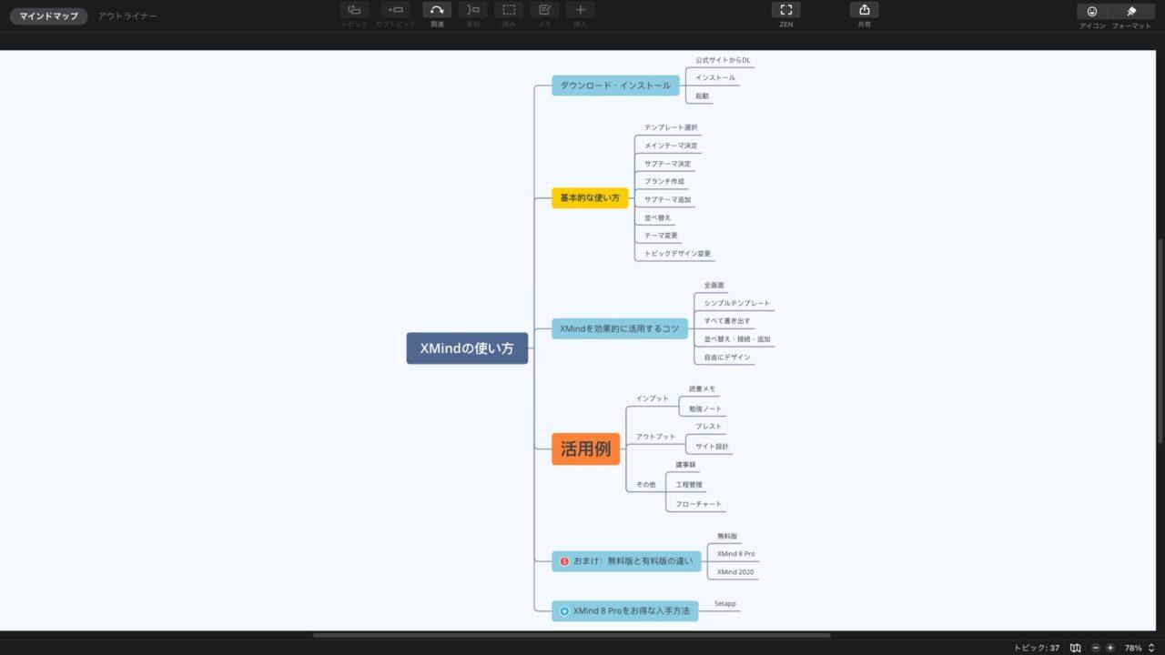 XMind:フルスクリーンモード