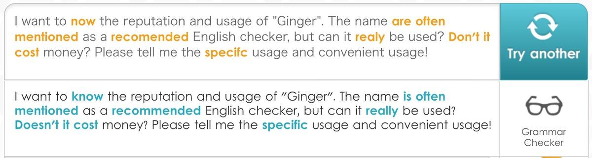 Ginger:添削結果